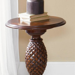 Liberty Furniture - Royal Landing Side Table - Book matched cherry veneer top. Antique brass knob hardware. Wood cup insert. Pineapple accents. Fluted pilasters. Reeded molding accent on apron and legs. Warranty: One year. Made from rubberwood solids and cathedral cherry veneers. Tobacco finish. Made in Vietnam. 20 in. Dia x 26 in. H (59 lbs.)Royal Landing is a unique collection with a relaxed traditional look of British colonial styling and a hint of the tropics. This style furniture reflects the romance, allure and excitement of an age of exploration and discovery. Like taking a trip around the world without ever leaving home.