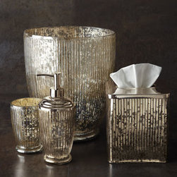 "Horchow - Scarlette Pump Dispenser - Vanity accessories handcrafted of antiqued-silver mercury glass. Imported. Wastebasket, 10.25""T. Tumbler, 4.5""T. Pump dispenser, 8.25""T. Tissue box cover with metal top, 5.5""Sq. x 5.75""T."