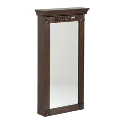 """Holly & Martin - Holly & Martin Vivienne Wall-Mount Jewelry Armoire-Espresso X-21-3-950-842-75 - Stop digging through a cluttered jewelry box and get organized with this lovely wall mount jewelry armoire. A rich espresso finish accentuates the character of the traditional styling. Decorative square floral appliqu&#233:s on each corner are mirrored with another carved appliqu&#233: that stretches across the top. Black felt and an assortment of jewelry storage options line the inside. The door has a keyed lock on the right side to secure your valuables. Perfect for bedroom, bathroom, walk-in closet, or entryway, this jewelry armoire will be a beautiful addition to your home.    - 17"""" W x 5"""" D x 32"""" H                                                                                  - Rich espresso finish                                                                                  - Beveled mirror                                                                                        - 6 double hooks for hanging necklace and bracelet sets                                                 - 11 flat hooks for hanging multiple slender necklaces                                                  - 6 single hooks for more bracelets                                                                     - 8 rows of ring storage                                                                                - 3 racks of storage for hoop and hook earrings                                                         - Removable storage tray for stud earrings and other accessories                                        - Locking door with decorative key                                                                      - No assembly required"""