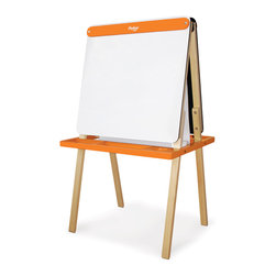 P'kolino - Little One's Easel, Orange - Do you find your household notepads all filled up with your child's sketches? Maybe it's time to give the little artist her own creative space. Much bigger than a notepad but small enough for little hands, this child-size easel provides endless creative possibilities with a paper roll on one side and a chalkboard on the other. Got two little artists? They can each draw happily on one side.