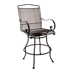 O.W. Lee Avalon Swivel Counter Stool - Sitting tall gives you a look of authority, but you'll already have that qualification sewed up when you make the call to add the O.W. Lee Avalon Swivel Counter Stool to your patio or poolside. Designed for years of use in any environment, this classically styled outdoor chair is crafted with a wrought iron frame and plush, all-weather cushions. The gentle, spiraling curves on the arms and slender, arcing legs add an elegant look, while your own personal taste is reflected in the wide choice of frame finishes and fabric options. You can sit at the bar or just swivel where you are in this handsome, medium-height stool. Please note: This item is not intended for commercial use. Warranty applies to residential use only. Materials and construction: Only the highest quality materials are used in the production of O.W. Lee Company's furniture. Carbon steel, galvanized steel, and 6061 alloy aluminum is meticulously chosen for superior strength as well as rust and corrosion resistance. All materials are individually measured and precision cut to ensure a smooth, and accurate fit. Steel and aluminum pieces are bent into perfect shapes, then hand-forged with a hammer and anvil, a process unchanged since blacksmiths in the middle ages. For the optimum strength of each piece, a full-circumference weld is applied wherever metal components intersect. This type of weld works to eliminate the possibility of moisture making its way into tube interiors or in a crevasse. The full-circumference weld guards against rust and corrosion. Finally, all welds are ground and sanded to create a seamless transition from one component to another. Each frame is blasted with tiny steel particles to remove dirt and oil from the manufacturing process, which is then followed by a 5-step wash and chemical treatment, resulting in the best possible surface for the final finish. A hand-applied zinc-rich epoxy primer is used to create a protective undercoat against oxidation. This prohibits rust from spreading and helps protect the final finish. Finally, a durable polyurethane top coating is hand-applied, and oven-cured to ensure a long lasting finish. About O.W. Lee Company An American family tradition, O.W. Lee Company has been dedicated to the design and production of fine, handcrafted casual furniture for over 60 years. From their manufacturing facility in Ontario, California, the O.W. Lee artisans combine centuries-old techniques with state-of-the-art equipment to produce beautiful casual furniture. What started in 1947 as a wrought-iron gate manufacturer for the luxurious estates of Southern California has evolved, three generations later, into a well-known and reputable manufacturer in the ever-growing casual furniture industry.