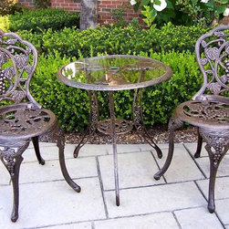 Oakland Living - Three Pc Bistro Set w Vineyard Motif Includin - Finish: Antique BronzeSet includes 1 table and 2 chairs. High-grade polyester powder coat finish. Brass and stainless steel assembly hardware ensure sturdiness, durability and security for years. Long lasting, beautiful finish maintain appearance for years to come. Minimal maintenance. Electrostatic application of the powder coat insures a smooth, even finish. Quick and easy assembly is assured with step-by-step assembly instructions included with each product. Leg levelers make this set stable and wobble-free. Umbrella opening on table. Tempered glass table top. Double QC quality program in which each piece is assembled prior to being unassembled and packaged assures that all parts are present and that the product will assemble easily. Constructed of rust free cast aluminum. Table: 26 in. W x 26 in. D x 26 in. H. Chairs: 17 in. W x 16 in. D x 36 in. H