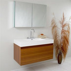 Fresca - Fresca Mezzo Teak Modern Bathroom Vanity with Medicine Cabinet - This vanity is striking in its simplicity. It features a beautiful widespread chrome faucet. Don't forget to check under the hood with the innovative storage system that includes a nested drawer. It also features a medicine cabinet that can be either wall mounted or recessed into a wall. The Mezzo is a larger version of the Nano Vanity. Optional side cabinets are available. Features MDF/Veneer with Acrylic Countertop/Sink with Overflow Nested Drawer Storage System (Soft Closing Drawers) Widespread Faucet Mount P-trap, Faucet/Pop-Up Drain and Installation Hardware Included How to handle your counter Installation GuideView Spec Sheet