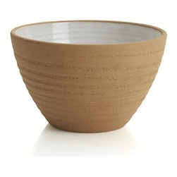 Studio Light Clay Small Serving Bowl - Solid stoneware glazed milky white, banded and textured with a wax-resist technique that exposes unglazed colors of natural clay, stone grey, brown and terracotta. Designer Jono Pandolfi, whose table settings grace the tables of leading New York restaurants, returns to his roots as a potter to create the artisan-inspired iconic shapes of a mix-and match-dinnerware array that upgrades the look of casual.