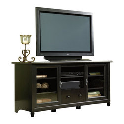 Sauder - Sauder Edge Water TV Stand in Estate Black - Sauder - TV Stands - 409048 - This TV credenza has an adjustable center shelf that holds audio/video equipment as well as two adjustable shelves each behind a framed safety-tempered glass door.