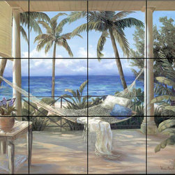 The Tile Mural Store (USA) - Tile Mural - Tropical Porch Ii - Kitchen Backsplash Ideas - This beautiful artwork by Vivian Flasch has been digitally reproduced for tiles and depicts an empty hammock just waiting for you. Can't you just imagine yourself resting by the ocean in this beautiful tropical setting of a calm blue sea and palm trees.  Beach scene tile murals are great as part of your kitchen backsplash tile project or your tub and shower surround bathroom tile project. Waterview images on tiles such as tiles with beach scenes and sunset scenes on tiles.  Tropical tile scenes add a unique element to your tiling project and are a great kitchen backsplash  or bathroom idea. Use one or two of our beach scene tile murals for a wall tile project in any room in your home for your wall tile project.
