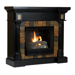Holly & Martin - Weatherford Convertible Gel Fireplace, Black - Dark earth tone faux slate tiles surround the firebox on this black fireplace mantel to create a look that is unbeatable. Rounded columns on either side of the firebox are topped off with square tiles, adding cohesion to the design. This versatile fireplace is complete with a collapsible panel, making it easy to place against a flat wall or in a corner. Requiring no electrician or contractor for installation allows instant remodeling without the usual mess or expense. In addition to your living room or bedroom, try moving this fireplace to your dining room for a romantic dinner or complement your media room with a vent less fireplace below your flat screen television. Use this great functional fireplace to make your home a more welcoming environment.