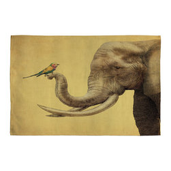 DENY Designs - Eric Fan Elephant And Bird Woven Rug - The walls don't get to have all the fun. Now your floors are getting in on the action too! With a flat woven Polyester Jacquard fabric, our woven rugs can be used in just about any room in the house while adding an extra bounce to your step! Custom printed in the USA for every order.