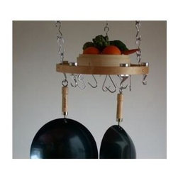 Taylor and Ng - Track Round Ceiling Pot Rack - Optional eight hanging links and six s-hooks. Hanging. Made from wood, steel and cast aluminum. Round shape. Natural finish. Distance from ceiling: 22 in.. S-hook: 2 in. L x 0.19 in. W x 3.75 in. H (0.36 lbs.). Hanging link: 1.13 in. L x 0.19 in. W x 3 in. H (0.38 lbs.). Overall: 17 in. Dia. x 1.38 in. H (5 lbs.). Includes mounting hardware, easy read instructions, steel center grid, twenty four hanging links, six S hooks to hang cookware, three ceiling mounting, six swivel and three eye hooks. Assembly required. Made in Taiwan. Eye hooks mounts directly to ceiling wood joistMaximize your ceiling space to store all of your pots and pans. Steel Hanging Links to extend your pot rack from the ceiling and to adjust height of the preassembled potrack.