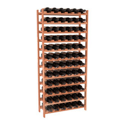 72 Bottle Stackable Wine Rack in Redwood with Satin Finish - Four kits of wine racks for sale prices less than three of our 18 bottle Stackables! This rack gives you the ability to store 6 full cases of wine in one spot. Strong wooden dowels allow you to add more units as you need them. These DIY wine racks are perfect for young collections and expert connoisseurs.