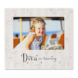 """Lawrence Frames - Nursery Collection - Diva in Training 6x4 - Adorable """"Diva in training"""" picture frame. Fun picture frame is the perfect compliment to any nursery or makes the perfect gift. High quality black wood backing with easel for table top display. Individually boxed."""