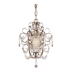 "Minka Lavery - Crystal Minka Lavery French Silver 11"" Wide Mini Chandelier - A design that's full of sparkle despite its small size. The mini chandelier features a lavish bent arm frame in a Westport Silver finish. Strands and droplets of hanging glass create an eye-catching sparkle. From the Minka-Lavery small chandelier collection. Takes one 60 watt candelabra bulb (not included). 11"" wide. 16 1/4"" high.  Mini chandelier design.  By Minka Lavery.  Accented with strands and droplets.  Westport silver finish.  Takes one 60 watt candelabra bulb (not included).   11"" wide.   16 1/4"" high."