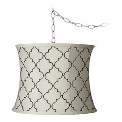 """Lamps Plus - Contemporary Cream Moroccan Tile 14"""" Wide Brushed Steel Chandelier - Designer style meets function in this elegant plug-in swag chandelier. The look features an easy to install plug-in swag chandelier with an antique brass finish canopy and chain. A drum shade with a beautiful Moroccan pattern on cream fabric completes the design. 13-foot cord 9-feet of chain. Moroccan tile print shade in cream. Brushed steel finish canopy. Includes swag hooks and mounting hardware. 13-foot cord 9-feet of chain. Maximum 60 watt bulb (not included). Canopy is 5 1/2"""" wide 1"""" high. Shade is 13"""" across the top 14"""" across the bottom 11"""" high. Chrome finish spider fitter.  Moroccan tile print shade in cream.  Brushed steel finish canopy.  Includes swag hooks and mounting hardware.  13-foot cord 9-feet of chain.   Maximum 60 watt bulb (not included).  Canopy is 5 1/2"""" wide 1"""" high.   Shade is 13"""" across the top 14"""" across the bottom 11"""" high.  Chrome finish spider fitter."""