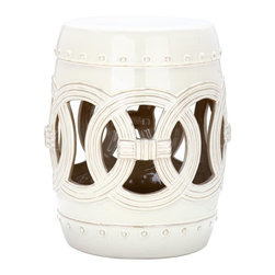 Safavieh - White Glazed Ceramic Garden Stool ACS4500E - Indoors or out, this classic Chinese garden stool design lends a touch of Feng Shui serenity. Inspired by the Asian linked coin motif believed to bring good luck, our Double Coin stool is lustrous in antique white high fired ceramic.
