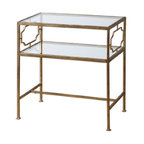 Uttermost - Uttermost Genell Gold Leafed Iron Glass Side Table - An upscale, traditional design in gold-leafed iron with moderate antiquing. Top and gallery shelf are clear, tempered glass.
