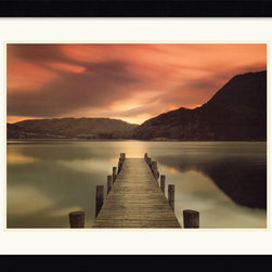 Amanti Art - Ullswater, Glenridding, Cumbria Framed Print by Mel Allen - Known as The Lake District of England, Cumbria contains the country's highest mountains, and some of its biggest lakes. An empty wooden dock draws the attention to the still waters on this lake that reflect the surrounding mountains.