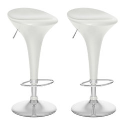 Sonax - Sonax CorLiving Form Fitted Bar Stool in White Gloss (Set of 2) - Sonax - Bar Stools - B111BAD - Add spice to any bar or kitchen island with the Bar Stool featuring an ABS low form fitted back seat in White Gloss, chromed gas lift and chromed support. The contemporary design will accent any decor setting while the gas lift offers the option to adjust to variable bar heights with ease. A great addition to any home! Available in 5 different colors.