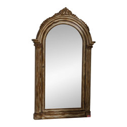 Hooker Furniture - Vera Floor Mirror - With its classical, sculptured design and antique gold leaf finish, the Vera Floor Mirror is all allure.  What a bonus that it beautifully organizes your jewelry.  Three sets of felt ring holders, twenty jewelry bags, two rows of jewelry hooks (20 hooks).