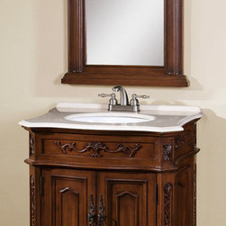 None - Veronica 2-piece Single Sink Bathroom Vanity with Mirror - Bring a touch of classic elegance to your bathroom with this Veronica bathroom vanity,featuring a warm,caramel brown finish and intricate detailing. A white granite top with a beveled edge adds glamour to this sophisticated piece.