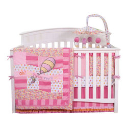 Trend Lab - Trend Lab Oh the Places You'll Go Pink Crib Bedding Set - Oh the Places You'll Go Pink 4-Piece Crib Bedding Set