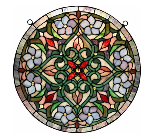 Warehouse of Tiffany - Tiffany Hanging Window Panel - Featuring splendid colors and a beautifully balanced shape, this luxurious Tiffany stained glass window hanging allows you to enjoy the beauty stained glass provides without replacing your windows. Hanging hardware is included for your convenience.