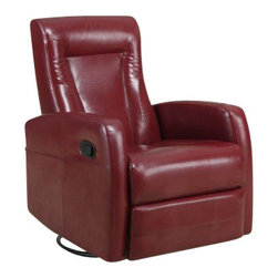 Monarch Specialties - Monarch Specialties Swivel Rocker Recliner Chair in Red - This contemporary design accent chair combines 3 functional elements... it swivels... it rocks... and it reclines, ensuring that you are always in a comfortable position. This dark brown bonded leather chair with a padded head rest was designed for ultimate comfort. Whether reading a book or watching sports this will be the chair that everyone will want to sit on. The easy glide motion and the contemporary design makes it a chic and fashionable addition for your den, bedroom, living room or basement. It truly is a chair for any room in your home. What's included: Recliner (1).
