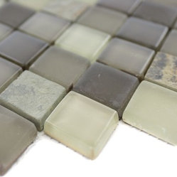 Geological Diamond Multicolor Slate & Khaki Blend Glass Tiles