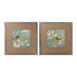 Uttermost - Uttermost Turqouise Bird Silhouettes Framed Art, Set of 2 41395 - Prints are accented by Medium size:ium tone burlap mats. Frames and fillets are made of reclaiMedium size: wood with muted gray wash and light taupe glaze.