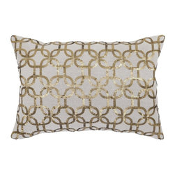 """Villa Home - Pair of Dore Gold Pillows by Villa Home - Natural linen is glitzed up with gold sequin chain links. When mixed with other natural linen pillows, a little sparkle will create some retro appeal. (VH) 20"""" wide x 14"""" high. 100% linen feather down insert. Sold in pairs"""