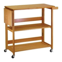 Winsome Wood - Kitchen Cart, Foldable - Our great design - foldable unit saves the space when not in use. This Cart made of solid and composite wood has a built in knife board with handle while its casters helps us to move it around easily.