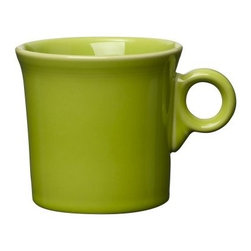 Fiesta Lemongrass Mug 10.25 oz. - Set of 4 - Perk up your existing dishware with the Fiesta Lemongrass Mug 10.25 oz. - Set of 4. This bright green hue exemplifies Fiesta's commitment to updating its collection to satisfy the needs of savvy modern chefs. The mug's classic shape, with straight sides to trap heat in your beverage and a slightly flared lip for comfortable sipping, is accented by a cute circular handle for a profile that is decidedly contemporary. Made from fully vitrified china with a lead- and cadmium-free glaze, each piece is microwave-, dishwasher-, and freezer-safe, and oven-safe up to 400 degrees Fahrenheit.About FiestaAmerica's favorite dinnerware line, Fiesta was introduced by the Homer Laughlin China Company in 1936 and quickly became a collector's item. Sets of Fiestaware are passed down from one generation to the next, as their Art Deco patterns have a timeless beauty, and their durable construction survives lifetimes of everyday use. Made from strong restaurant-quality ceramic with a rainbow of vibrant-colored lead- and cadmium-free glazes, and a full assortment of practical shapes, this line of kitchenware is easy to mix and match to create your own custom set. Fiestaware patterns have remained consistent throughout the years, although new pieces and colors are added, so modern cooks can customize and update their collection. Proudly made in America with a 5-year no-chip guarantee, each piece is microwave- and oven-safe, and dishwasher-safe for easy cleanup.