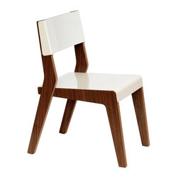 Housefish - Housefish Lock Dining Chairs, Walnut/White, Set of 2 - The Lock dining chair is a clean lined, and comfortable chair.