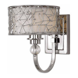 Uttermost - Brandon 1 Light Nickel Plated Wall Sconce - Contemporary Metal Abstract Designs With A Nickel Plated Finish Encases A Champagne Liner And Stained Frosted Glass Accented With Crystal Elements.
