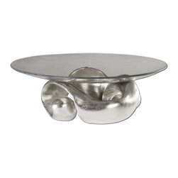 Uttermost - Uttermost Carolyn Kinder Decorative Bowl in Lightly Champagned Silver Leaf - Shown in picture: Lightly Champagned Silver Leaf With Clear Glass Bowl. Lightly champagned silver leaf with clear glass bowl.