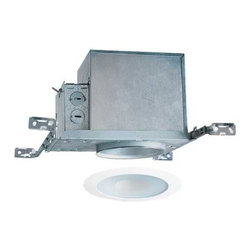Juno Lighting Group - 4-inch Recessed Lighting Kit with Lensed Shower Trim - IC1/12W-WH - This recessed lighting kit features a 4-inch insulation-ready housing and a lensed trim that is approved for wet locations such as a shower. The lens has a frosted rim with a clear center. The housing can be completely covered with insulation. It is air-tight which reduces heating and cooling costs. The hangers are expandable up to 25 inches. Takes (1) 30-watt halogen R30 bulb(s). Bulb(s) sold separately. Wet location rated.