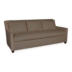 Chambers Sleeper Sofa in Glynn Linen Earth - Make the most of your living space with this sleek and convenient sleeper sofa. Equipped with a casual single bench-style seat cushion, this simple traditional sofa has a three-cushion back and box-shaped arms that invite lounging. Underneath the cushion is a queen-size pull-out bed for accommodating guests both day and night. The traditional geometric lines of this couch are ideal for accessorizing to suit any interior design scheme.