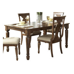 Liberty Furniture - Liberty Furniture Rustic Tradition 84x42 Rectangular Dining Table in Cherry, Med - Todays traditional has a more casual feel and this is mostly achieved through well, worn, rustic finishes. Rustic traditions is the heirloom quality Louis Philippe design with a burnished, rasped, rustic cherry finish. Cases feature chamfered pilasters, bun feet, drop ring and key hardware in an antique brass. Dining features two table options that work for smaller or larger scale areas. Beautiful shaped splat back chairs featured upholstered seats in a flax chenille. What's included: Dining Table (1).
