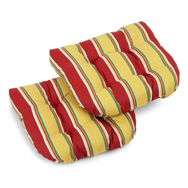 Blazing Needle Designs - U-Shaped Cushion for Patio Chair - Set of 2 (Tropique Raven) - Fabric: Tropique Raven. Set of 2. All weather resistant. Water proof and UV light fading protection. Perfect for wicker and outdoor patio chairs. Filled with thick polyester. 19 in. W x 19 in. D