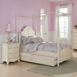 Homelegance - Homelegance Cinderella 2 Piece Canopy Poster Bedroom Set in Antique White - The Cinderella Collection is your little girl's dream. The Victorian styling incorporates floral motif hardware  antique ecru finish and traditional carving details that will create the feeling of a room worth of a fairy tale princess. A canopy bed completes the fantasy of this whimsical collection. Turned posts reach for the heights and are topped with carved finials. The additional trundle provides the extra sleeping space for princesses visiting from other kingdoms. Also available in dark cherry finish.