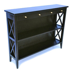 Ebony Hall Table with Brass Inlay and Pulls - Ebonized hall console table with 2 drawers and 2 shelves for books.  The top has a solid brass inlay and the drawer pulls are solid brass.