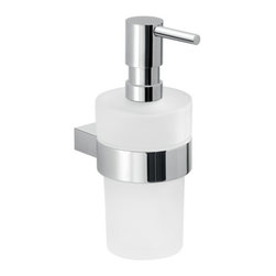 Gedy - Round Wall Hung Glass Soap Dispenser With Chrome Mounting - Luxury wall mounted liquid soap dispenser with hand pump for your bathroom.