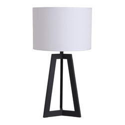 None - Illuminada 23.62-Inch Black Triangle Table Lamp with White Drum Shade - The Illuminada 23.62-inch black table lamp offers a contemporary style. The mixed material triangle table lamp features a matte black finish with a white fabric drum shade.