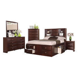 Adarn Inc. - Espresso Captains Storage Bed Set , Queen Size, 5 Pc Bedroom Set - A balance of a sophisticated design and functional traits is present in this wood espresso finished bed featuring a headboard with two centered stacked drawers and a double shelf on each side. It multi-dimensional flow moves through this design with lower storage drawers framing the lower portion of the bed frame. Its modern designed complimentary storage units include a dresser with a mirror, night stand and chest all covered in espresso with nickle finished round handles.