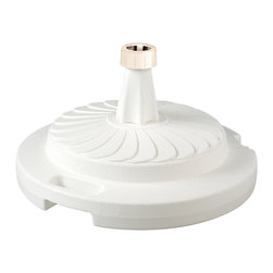 "Patio Living Concepts - Patio Living Concepts Umbrella Base Stands Commercial Umbrella Stand in White - Commercial Umbrella Stand in White belongs to Umbrella Base Stands Collection by Patio Living Concepts Commercial quality umbrella stand offers up to 95 lbs. of heavy holding force when filled with sand. Will accommodate umbrella poles from 1-1/2"" to 2"" diameter. Features locking screw on cap and smooth glide roller for easy moving. Umbrella Stand (1)"