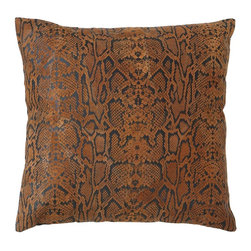 Decorative Designer Real Leather Pillow with Hexagonal Texture - Add a splash of style and comfort to your indoors with this exquisite real leather pillow sporting authentic features. You can use its soft feel to enhance the comfort level of your bedroom with a distinct look. Apart from that, it is highly versatile, enabling it to be effectively used on the couch to make it more attractive and cozy.  This pillow is designed with intrinsic details that flaunt its unique stitch and soft appeal. It is stuffed with royal cotton to ensure that it stays in its soft form for longer. It has been crafted with original snake leather that still retains its pattern and hexagonal texture. The craftsmen have worked to perfect levels to provide this unique pillow with a tough stitch on real leather for longer durability and hassle-free use.. It comes with following dimensions
