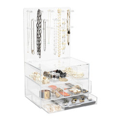 "GLAMbox - GLAMclassic Jewelry box, 9"" X 22"", Without Acrylic Handles - The GLAMbox Jewelry Organizer and Display is the ultimate way to see all of your jewelry and have easy access to all of your pieces. The GLAMbox Jewelry Organizer and Display is a gorgeous design that is high quality and modern with a sleek twist. There are two versions of this GLAMbox, one is a sleek smooth box and the other has acrylic rods on each side to use as bracelets holders. The crystal clear box makes it seem like your jewelry is floating in air, and is a beautiful piece of art at the same time. You will feel like you are going shopping for jewelry each time you pick a piece from your glamorous GLAMbox!"