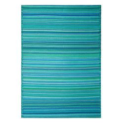 Fab Habitat - Indoor/Outdoor Cancun Rug, Turquoise & Moss Green, 6x9 - This festive all-weather rug is woven from straws made of recycled plastic. Washable and mildew resistant, it's ideal for the deck, the playroom, the beach — anywhere you want go