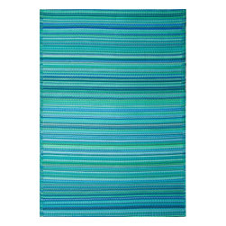 Fab Habitat - Indoor-Outdoor Cancun Rug, Turquoise and Moss Green - This festive all-weather rug is woven from straws made of recycled plastic. Washable and mildew resistant, it's ideal for the deck, the playroom, the beach — anywhere you want good looks and easy care. Comes with its own tote bag for convenient transport or storage.