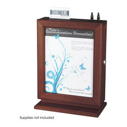 """Safco - Customizable Wood Suggestion Box - Mahogany - Let your opinions be heard! This elegant Customizable Wood Suggestion Box is perfect for collecting suggestions in any office setting. The 8 1/2 x 11"""" glass panel clearly displays any communication, and allows you to easily customize or change your message. The top has a space for suggestion cards and two writing utensils. The suggestion box is wall mountable to free up valuable counter space.; Features: Material: Wood; Color: Mahogany; ; Limited Lifetime Warranty; Dimensions: 10 1/2""""W x 5 3/4""""D x 13""""H"""