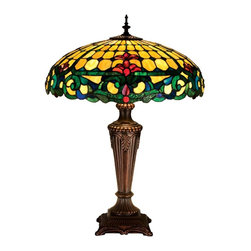 Meyda Tiffany - Duffner and Kimberly Colonial Table Lamp - Requires three 60 watt medium type bulbs. Tiffany nouveau style. Unique and handcrafted. Merlot colored stained glass accent. Emerald green scrolls and sea blue accent. Base in mahogany bronze color. Shade: 18 in. Dia. x 7 in. H. Overall: 18 in. Dia. x 25 in. H (58 lbs.). Care InstructionsNatural variations, in the wide array of materials that use to create each product, make every item a masterpiece of its own.